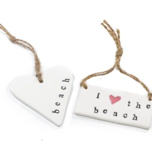 Ceramic I love the Beach tag or hanging