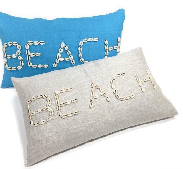 Linen beach shell cushion