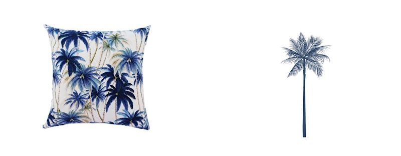 Tommy Bahama Blue palmtree cotton in outdoor cushions