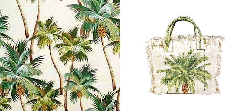 Palm tree print cotton canvas carry bag or beach bag