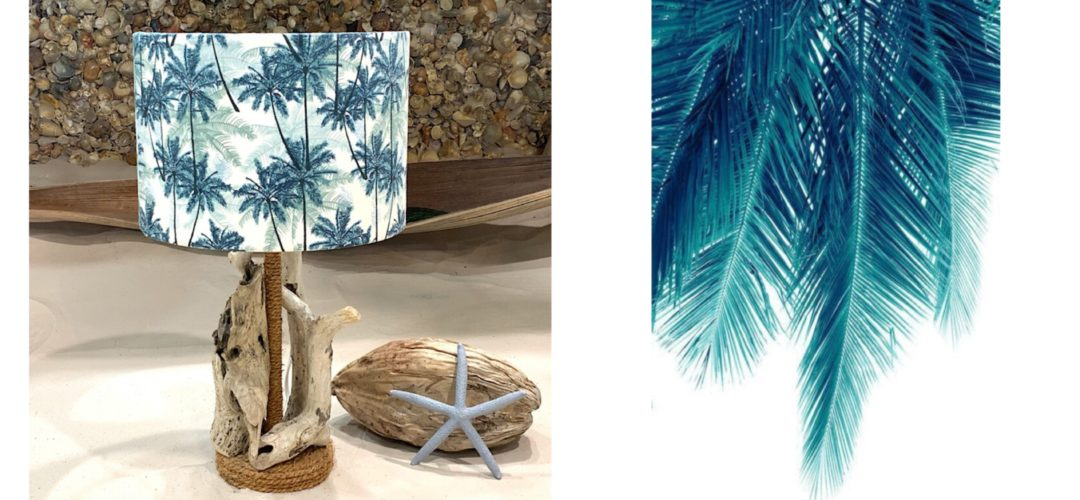 Driftwood lamp with palm tree shade